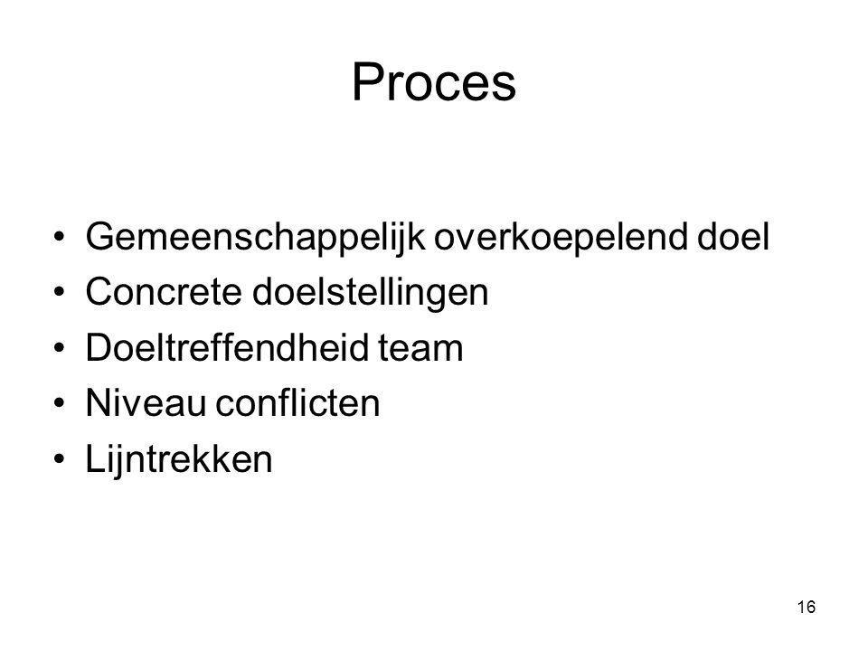 Proces Gemeenschappelijk overkoepelend doel Concrete doelstellingen