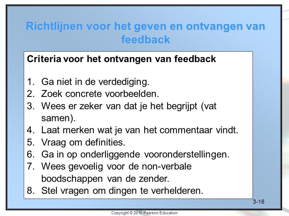 Richtlijnen voor het geven en ontvangen van feedback