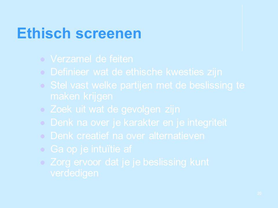 Ethisch screenen Verzamel de feiten