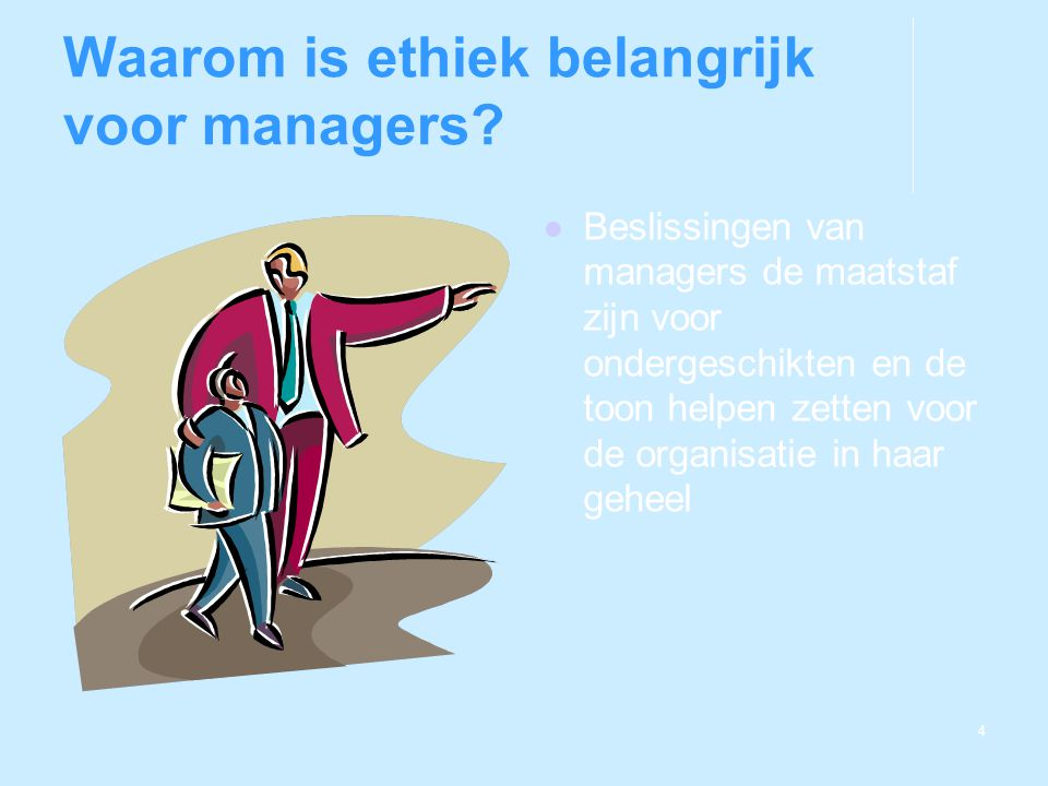 Waarom is ethiek belangrijk voor managers