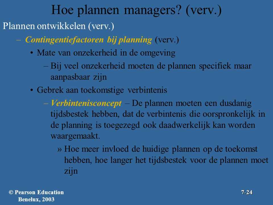 Hoe plannen managers (verv.)