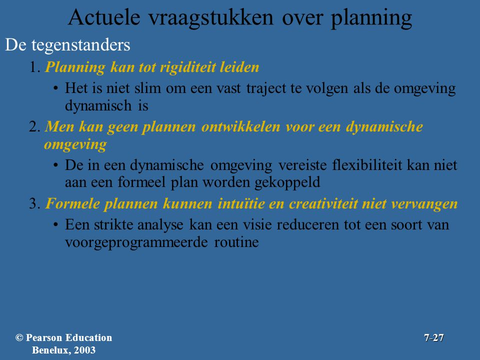 Actuele vraagstukken over planning