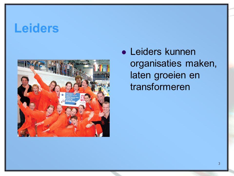Leiders Leiders kunnen organisaties maken, laten groeien en transformeren