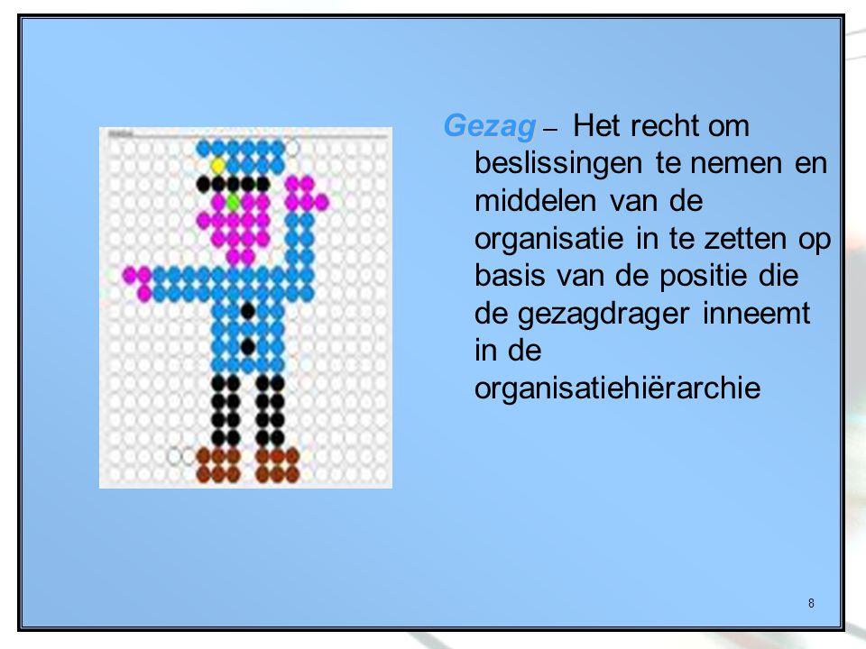 Gezag – Het recht om beslissingen te nemen en middelen van de organisatie in te zetten op basis van de positie die de gezagdrager inneemt in de organisatiehiërarchie