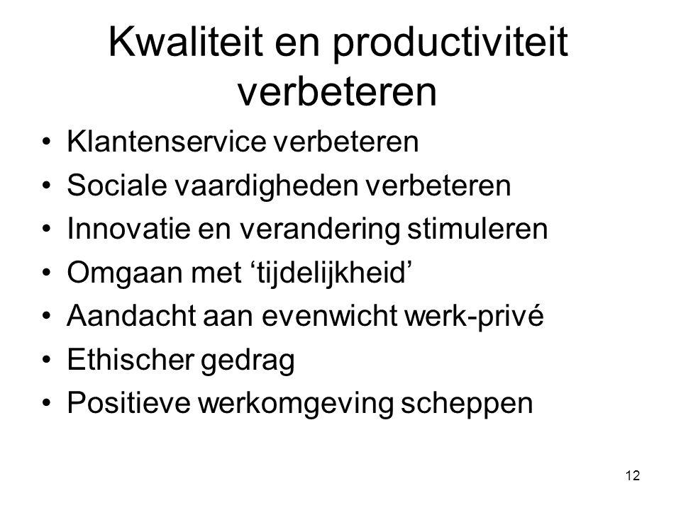 Kwaliteit en productiviteit verbeteren