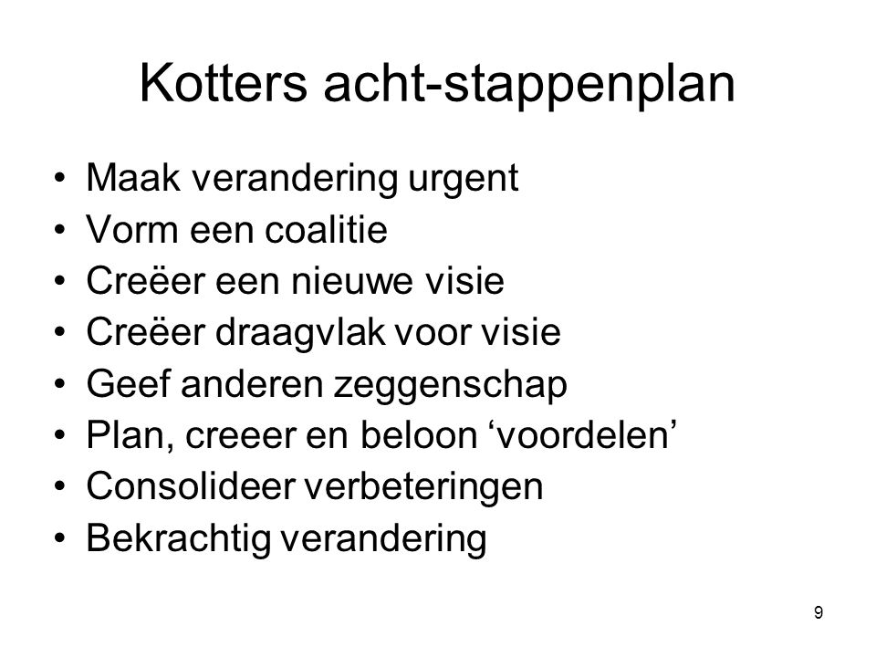 Kotters acht-stappenplan
