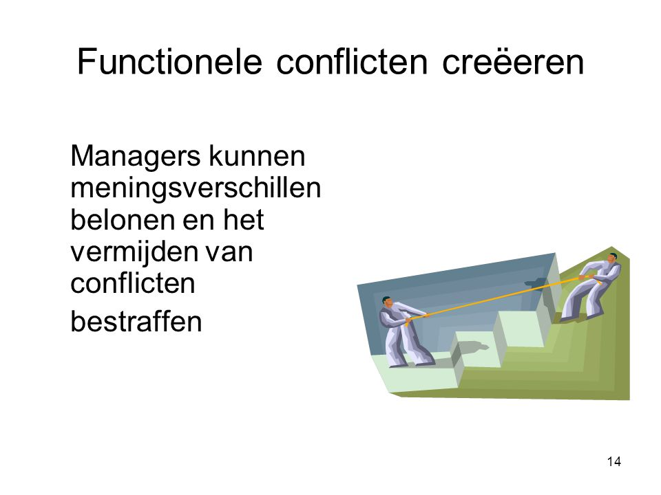 Functionele conflicten creëeren