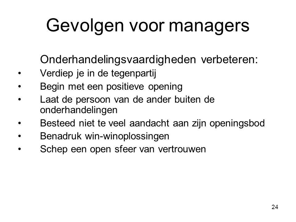 Gevolgen voor managers