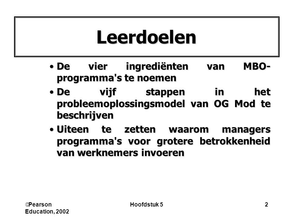 Leerdoelen De vier ingrediënten van MBO-programma s te noemen