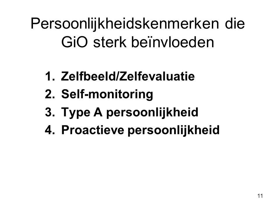 Persoonlijkheidskenmerken die GiO sterk beїnvloeden