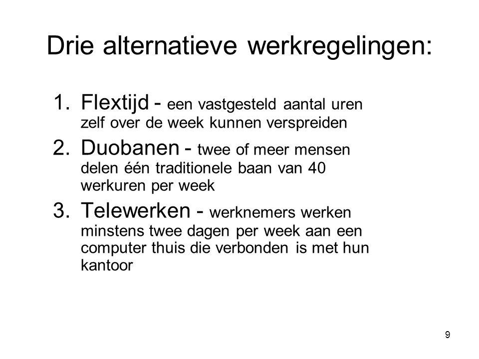 Drie alternatieve werkregelingen: