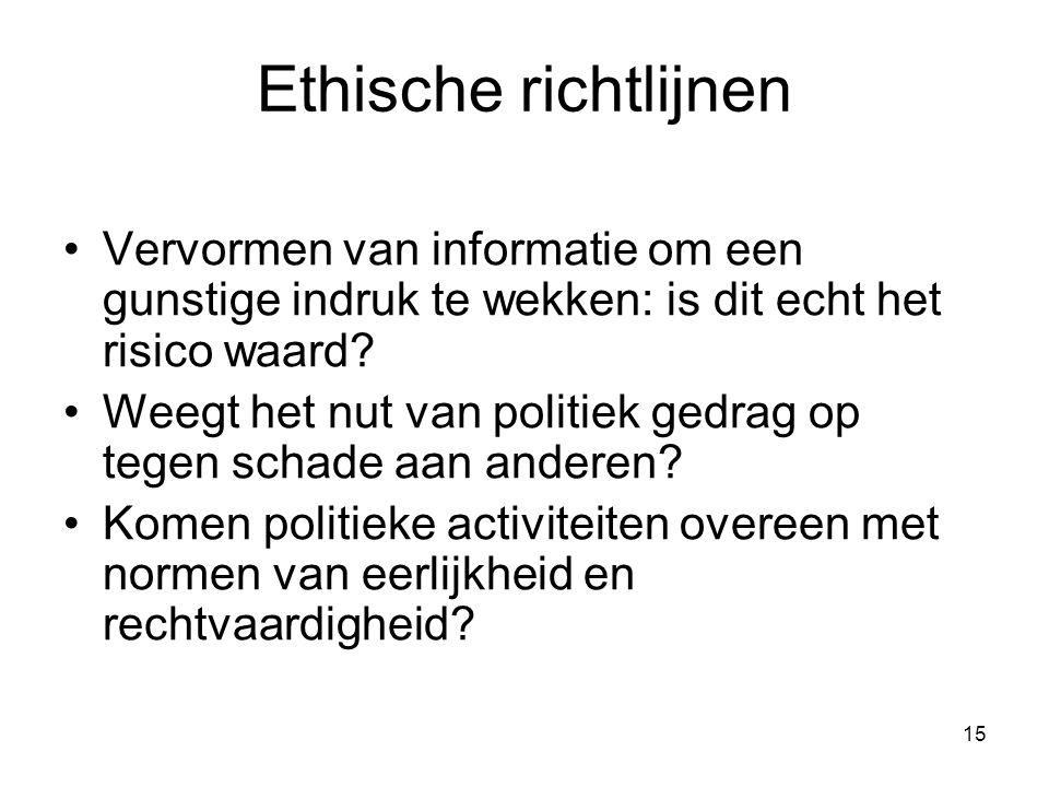 Ethische richtlijnen Vervormen van informatie om een gunstige indruk te wekken: is dit echt het risico waard
