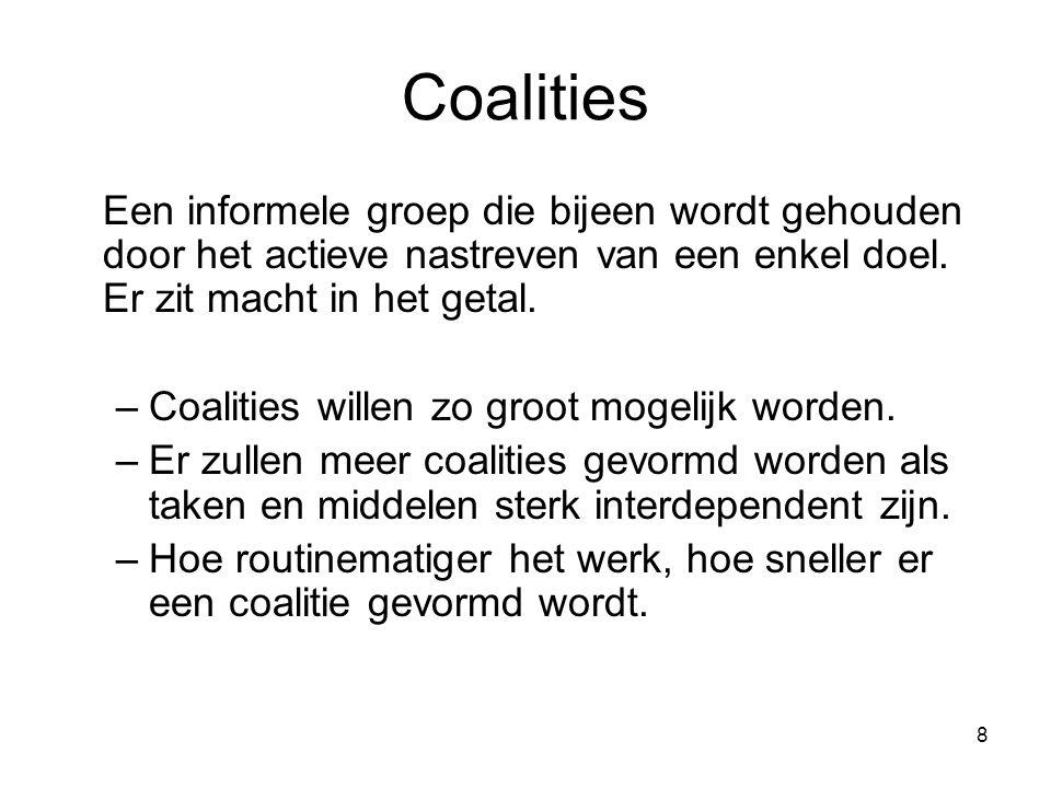 Coalities Een informele groep die bijeen wordt gehouden door het actieve nastreven van een enkel doel. Er zit macht in het getal.