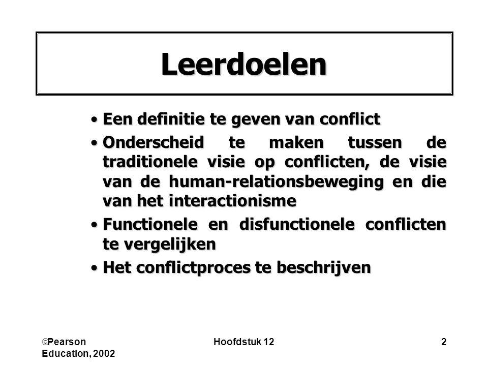 Leerdoelen Een definitie te geven van conflict