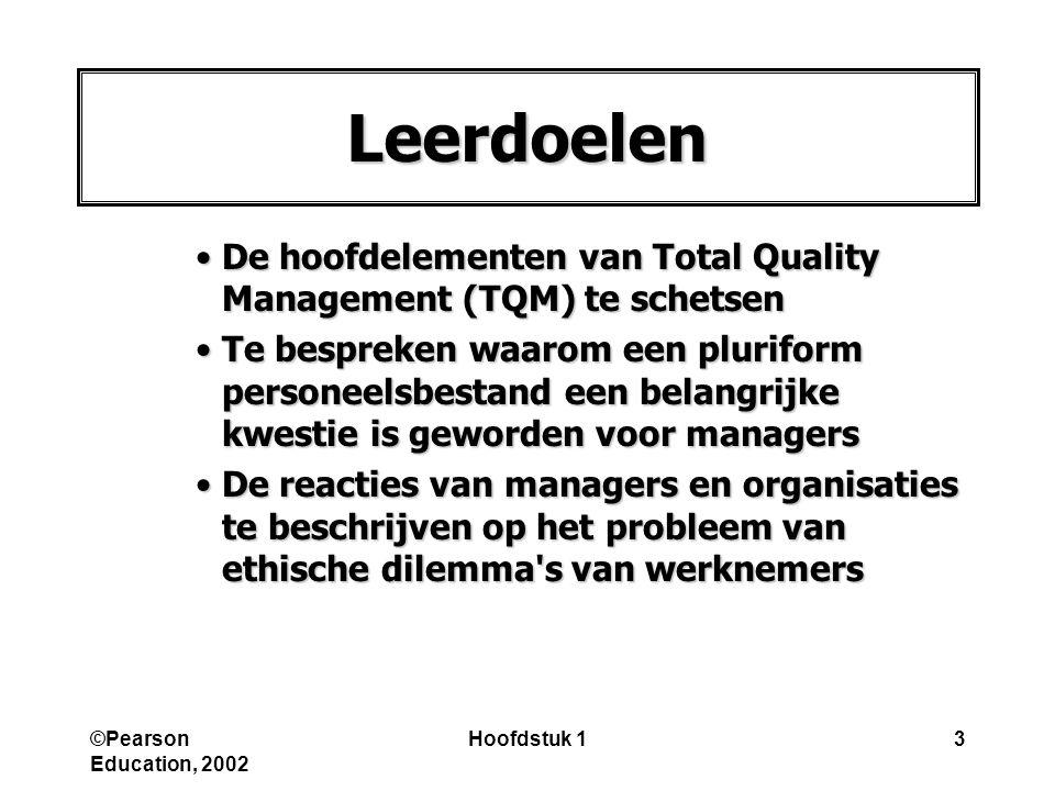 Leerdoelen De hoofdelementen van Total Quality Management (TQM) te schetsen.