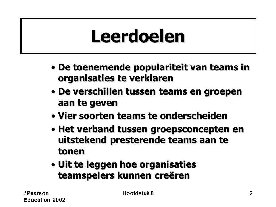 Leerdoelen De toenemende populariteit van teams in organisaties te verklaren. De verschillen tussen teams en groepen aan te geven.