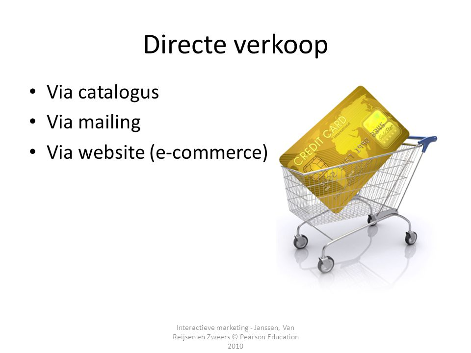 Directe verkoop Via catalogus Via mailing Via website (e-commerce)