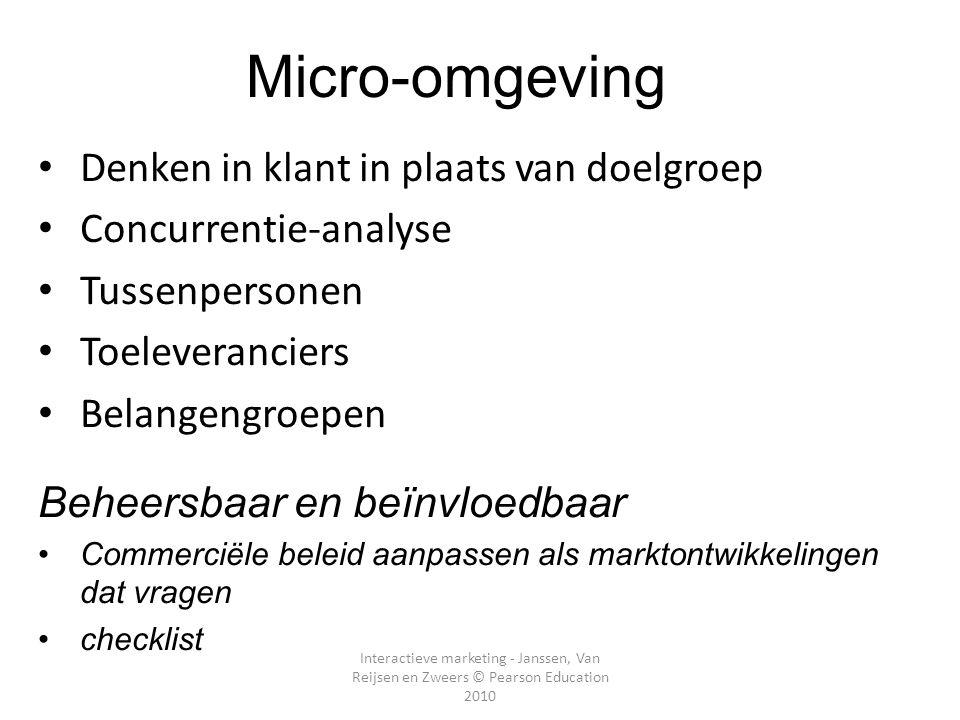 Micro-omgeving Denken in klant in plaats van doelgroep
