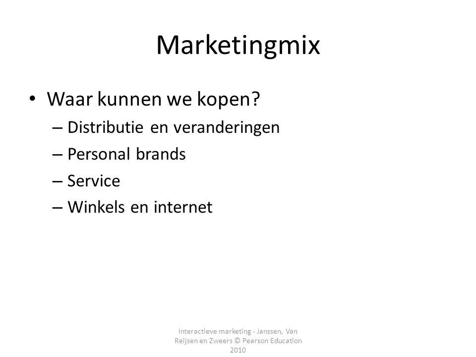 Marketingmix Waar kunnen we kopen Distributie en veranderingen