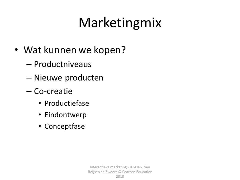 Marketingmix Wat kunnen we kopen Productniveaus Nieuwe producten