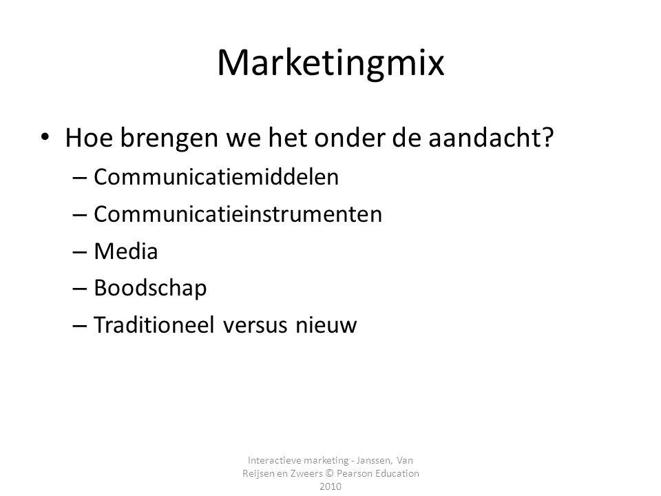Marketingmix Hoe brengen we het onder de aandacht