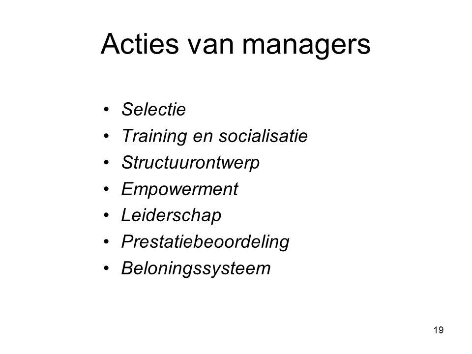 Acties van managers Selectie Training en socialisatie Structuurontwerp