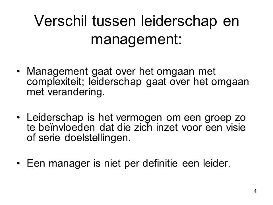 Verschil tussen leiderschap en management: