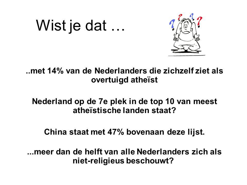 Wist je dat … ..met 14% van de Nederlanders die zichzelf ziet als overtuigd atheïst.