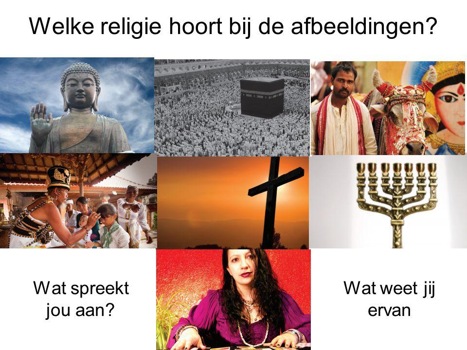 Welke religie hoort bij de afbeeldingen