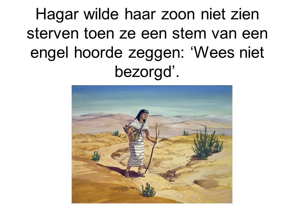 Hagar wilde haar zoon niet zien sterven toen ze een stem van een engel hoorde zeggen: 'Wees niet bezorgd'.