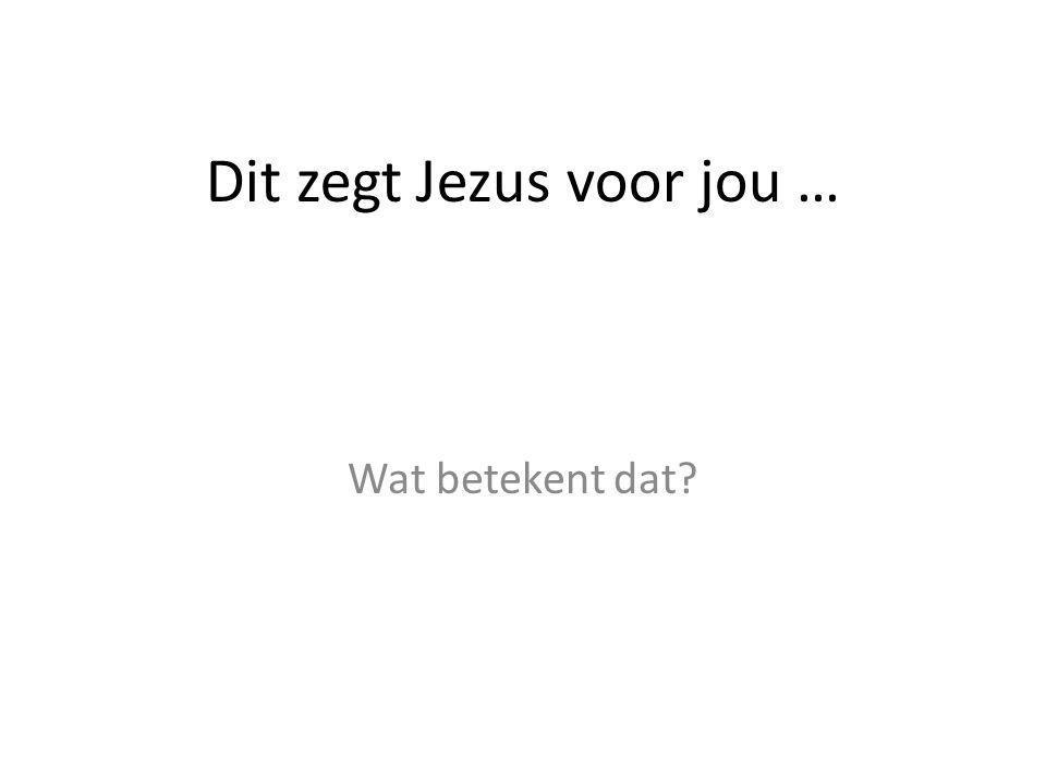 Dit zegt Jezus voor jou …