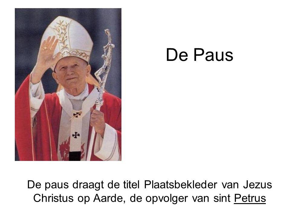 De Paus De paus draagt de titel Plaatsbekleder van Jezus Christus op Aarde, de opvolger van sint Petrus.