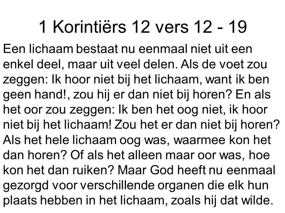1 Korintiërs 12 vers 12 - 19