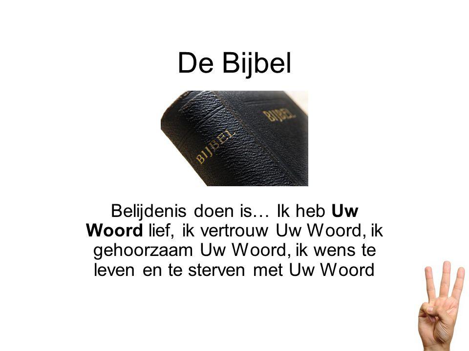 De Bijbel Belijdenis doen is… Ik heb Uw Woord lief, ik vertrouw Uw Woord, ik gehoorzaam Uw Woord, ik wens te leven en te sterven met Uw Woord.