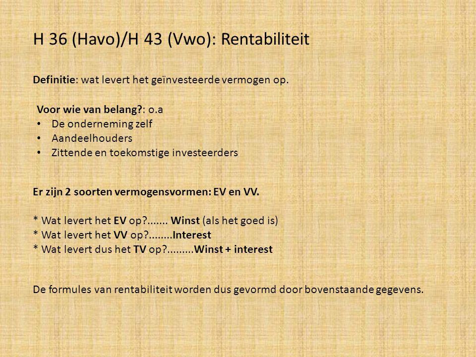 H 36 (Havo)/H 43 (Vwo): Rentabiliteit