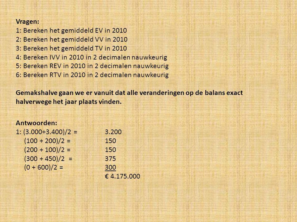 Vragen: 1: Bereken het gemiddeld EV in 2010. 2: Bereken het gemiddeld VV in 2010. 3: Bereken het gemiddeld TV in 2010.