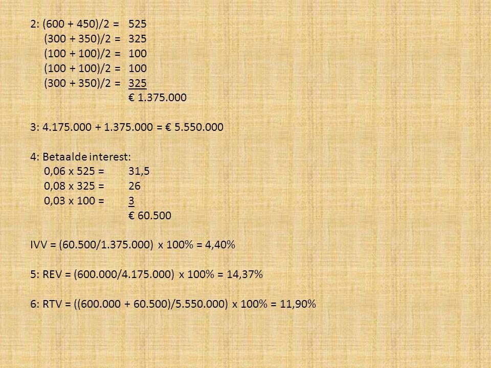 2: (600 + 450)/2 = 525 (300 + 350)/2 = 325. (100 + 100)/2 = 100. € 1.375.000. 3: 4.175.000 + 1.375.000 = € 5.550.000.