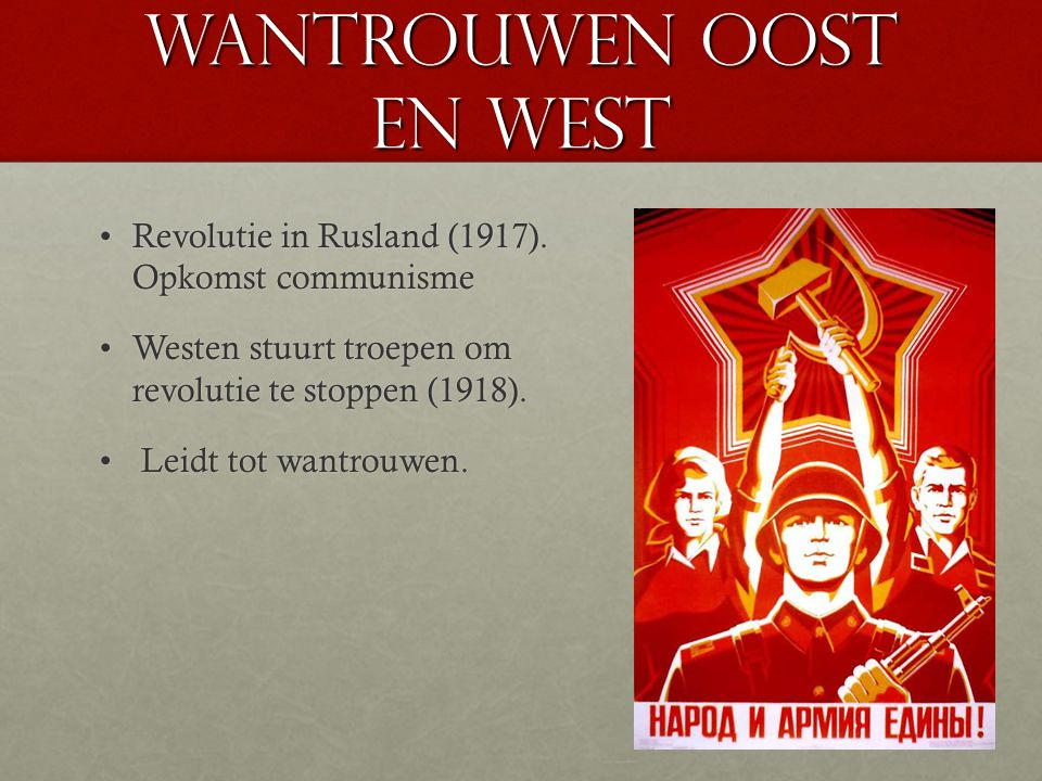 Wantrouwen oost en west