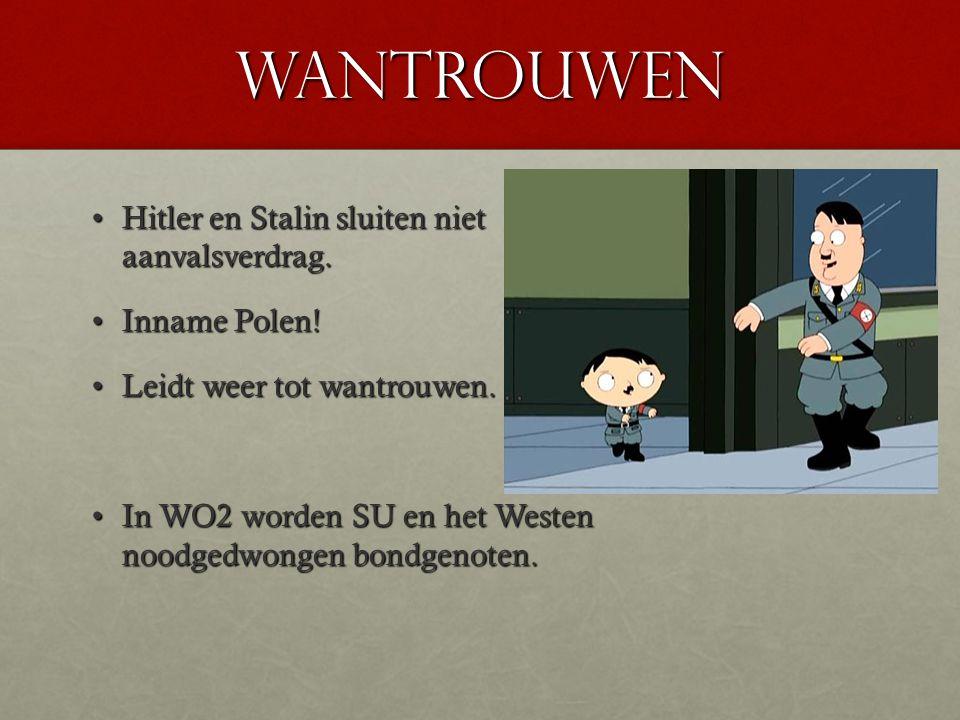 Wantrouwen Hitler en Stalin sluiten niet aanvalsverdrag. Inname Polen!