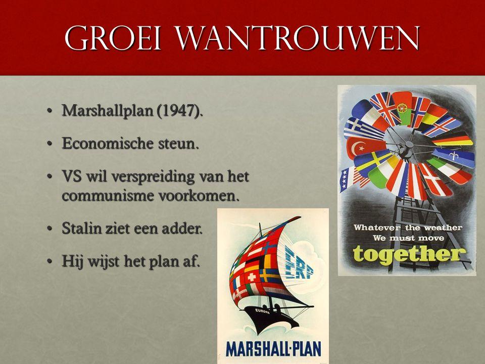 Groei wantrouwen Marshallplan (1947). Economische steun.