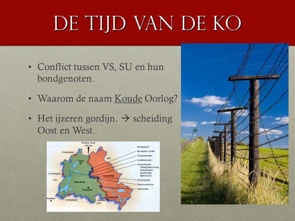 De tijd van de KO Conflict tussen VS, SU en hun bondgenoten.