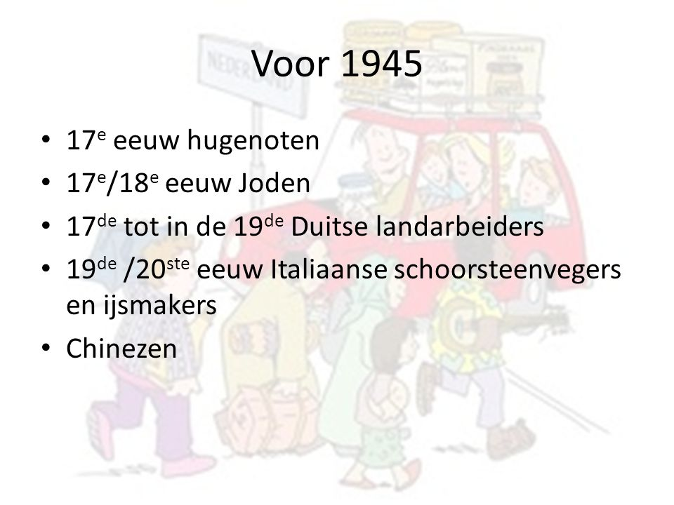 Voor 1945 17e eeuw hugenoten 17e/18e eeuw Joden
