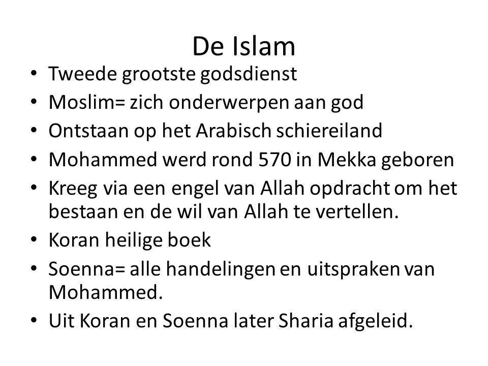 De Islam Tweede grootste godsdienst Moslim= zich onderwerpen aan god