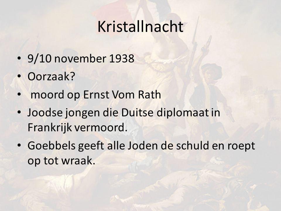 Kristallnacht 9/10 november 1938 Oorzaak moord op Ernst Vom Rath