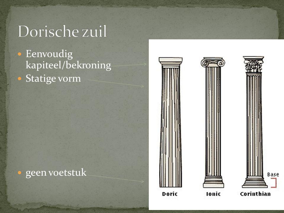Dorische zuil Eenvoudig kapiteel/bekroning Statige vorm geen voetstuk