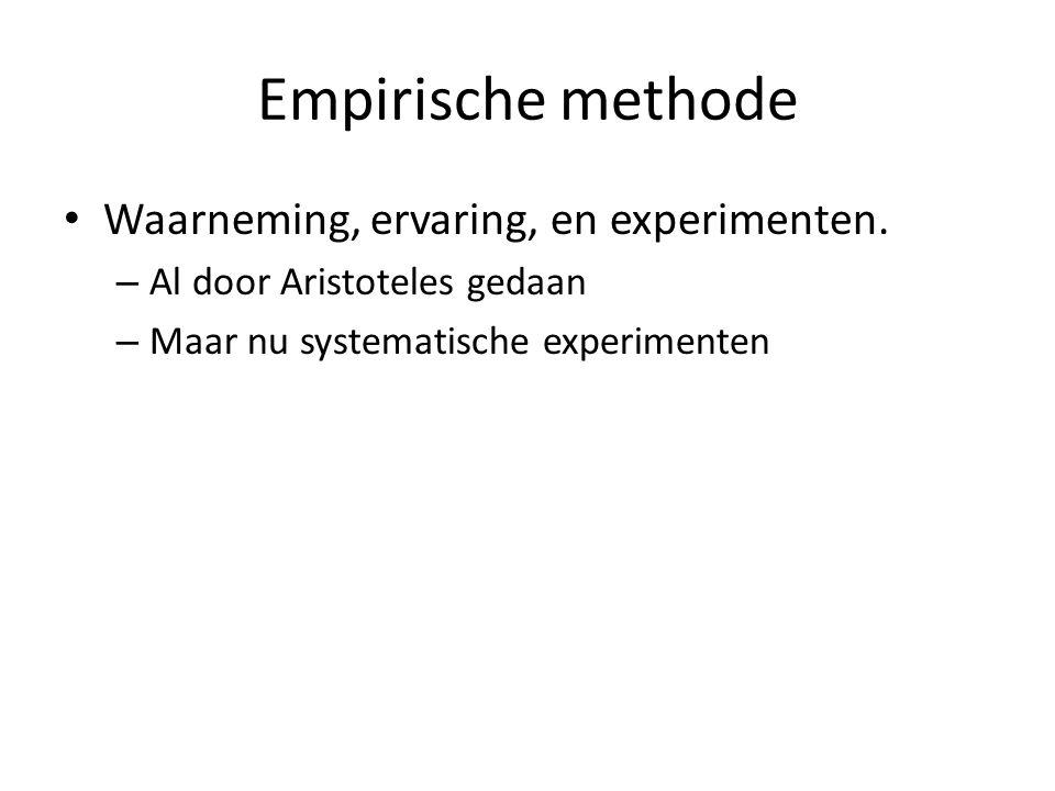 Empirische methode Waarneming, ervaring, en experimenten.