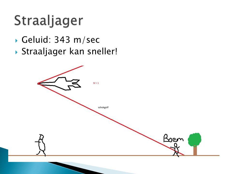 Straaljager Geluid: 343 m/sec Straaljager kan sneller!