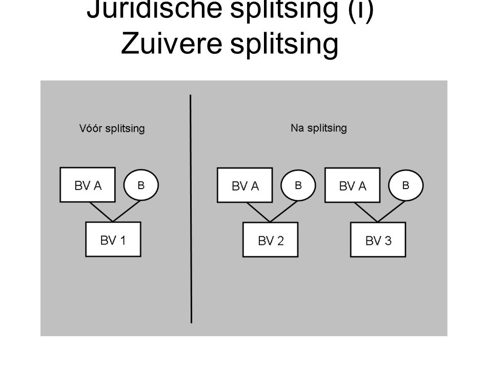 Juridische splitsing (i) Zuivere splitsing