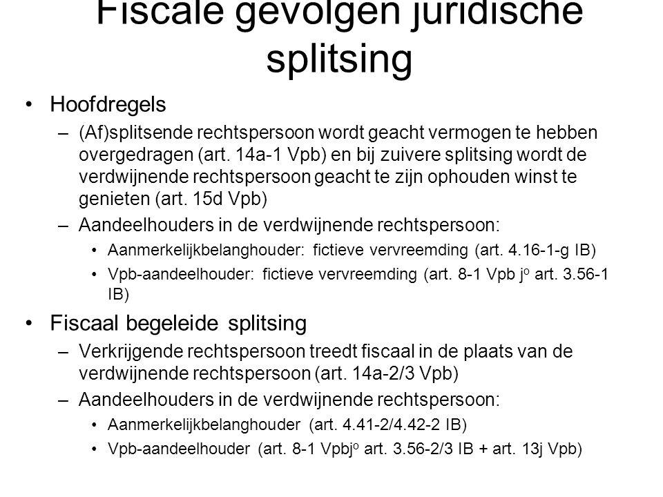 Fiscale gevolgen juridische splitsing