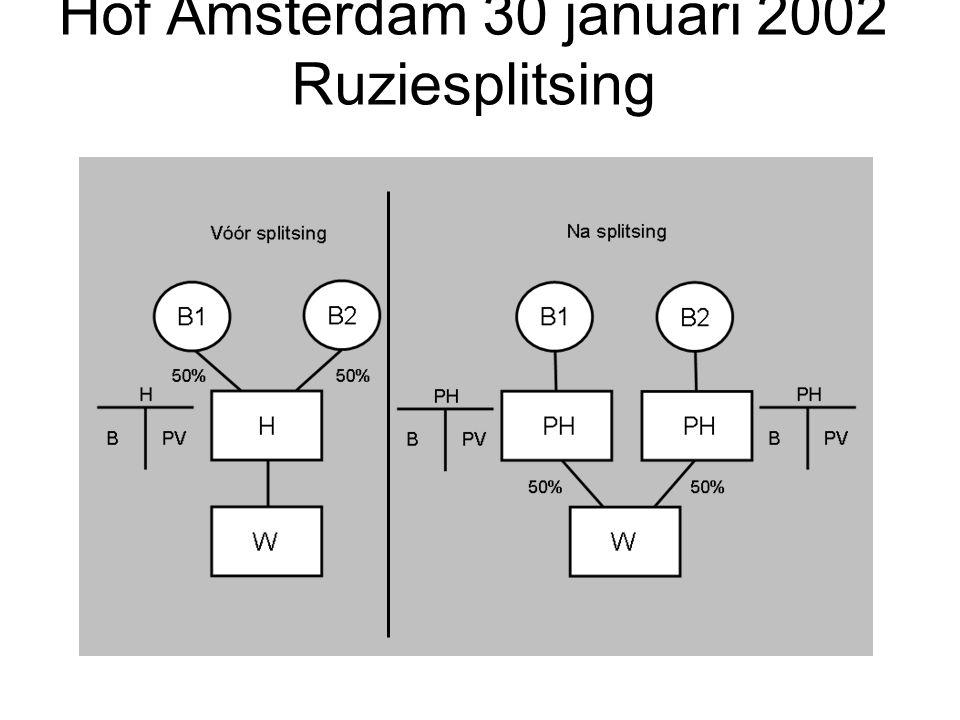 Hof Amsterdam 30 januari 2002 Ruziesplitsing